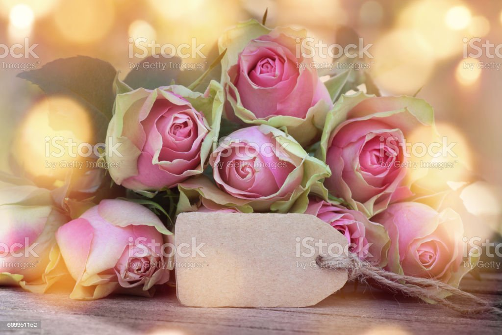 Roses with bokeh for mothers day stock photo