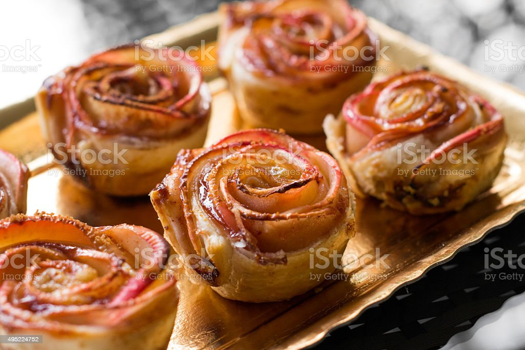 Rose-shaped dessert stock photo