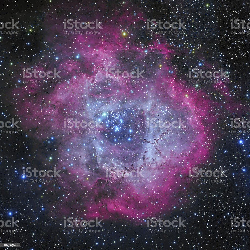 Rosette Nebula in Monoceros Constellation stock photo