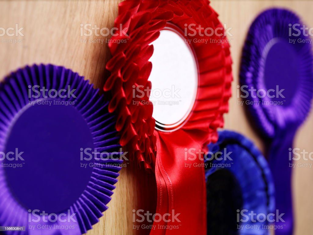 Rosettes for winning stock photo