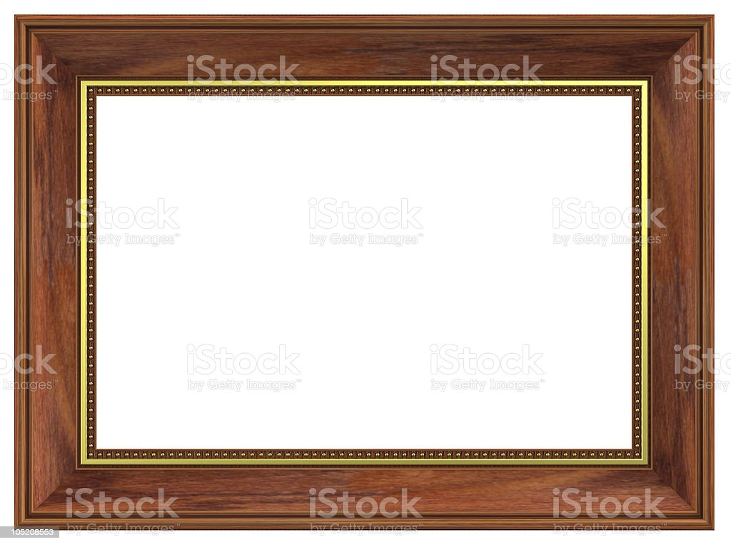 Rosewood with gold rectangular frame isolated on white background royalty-free stock photo
