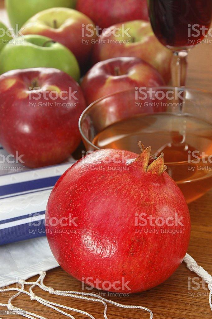 Rosh Hashana Pomegranate, Apples and Honey royalty-free stock photo
