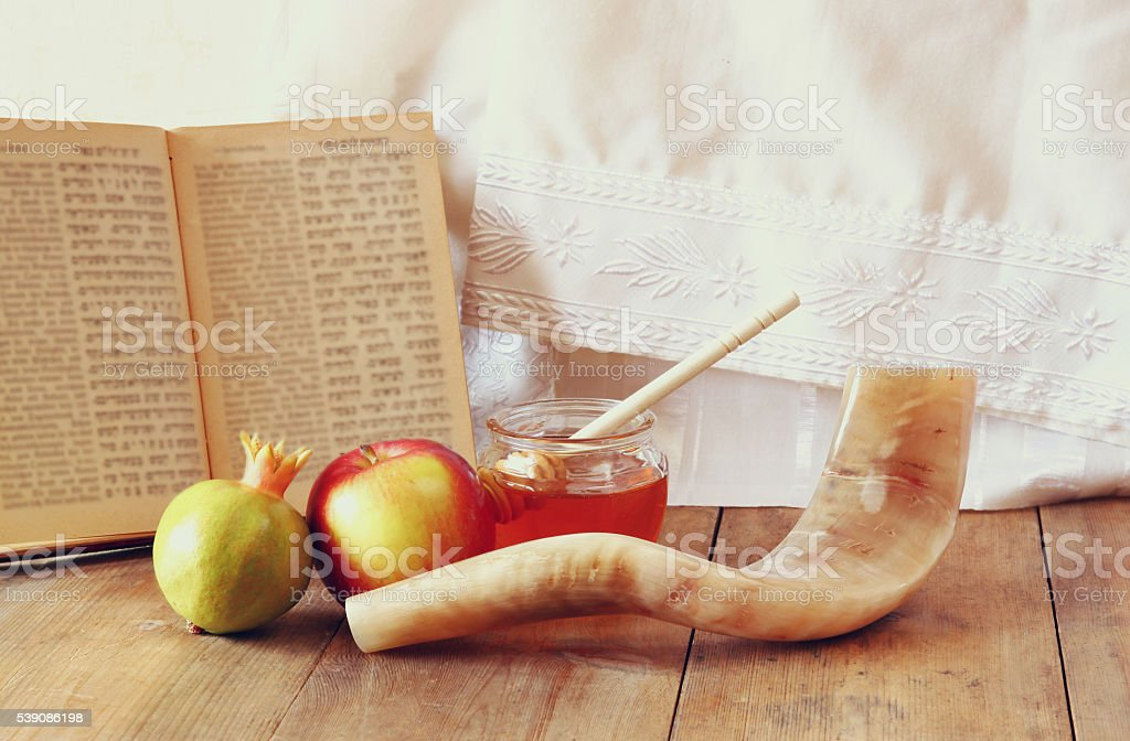 rosh hashanah (jewesh holiday) concept. traditional symbols stock photo