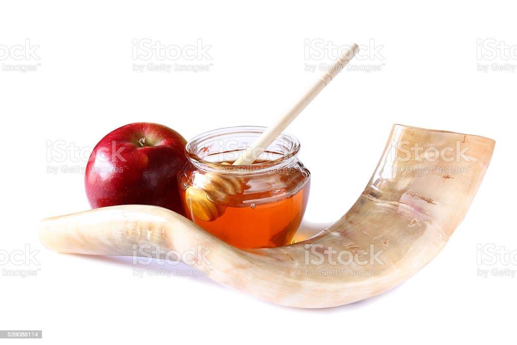 rosh hashanah (jewesh holiday) concept. traditional symbols stock photo