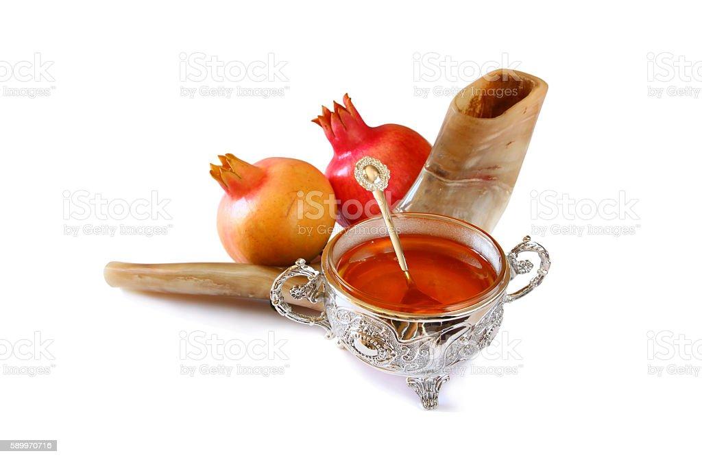 Rosh hashanah (jewish New Year) concept. Traditional symbols stock photo