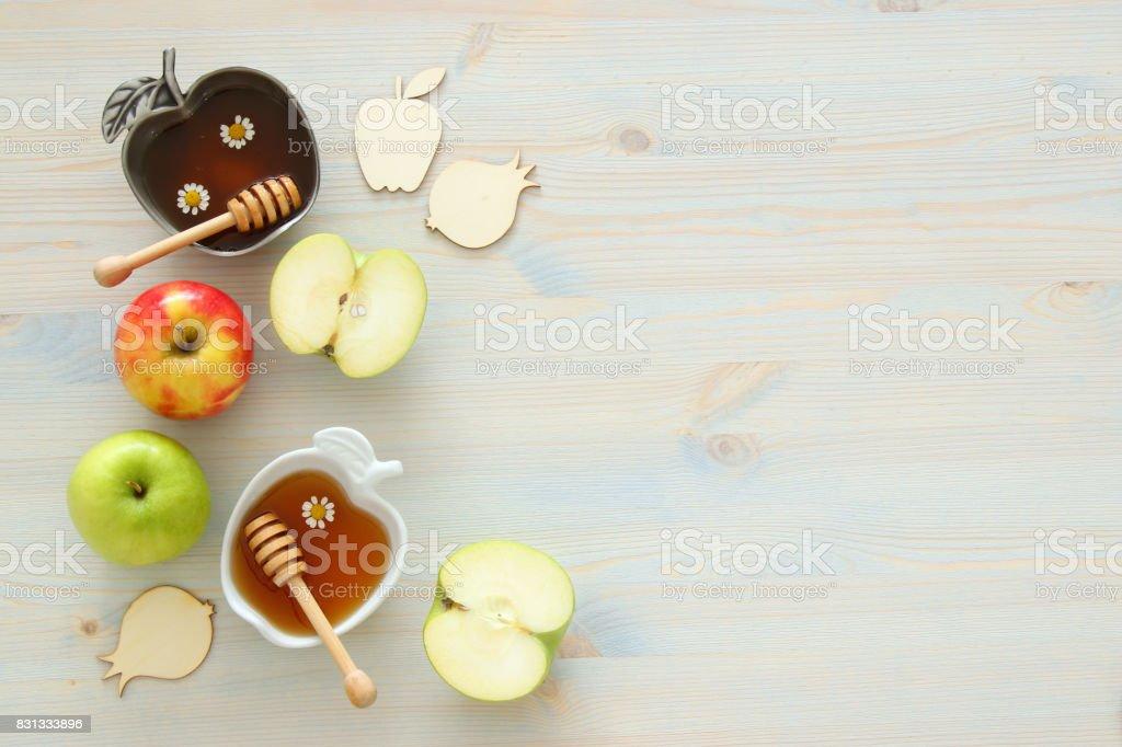 Rosh hashanah (jewish New Year holiday) concept. Traditional symbols stock photo