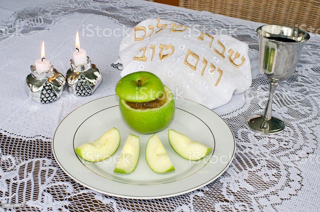 Rosh Hashanah Jewish Holiday Seder Table stock photo