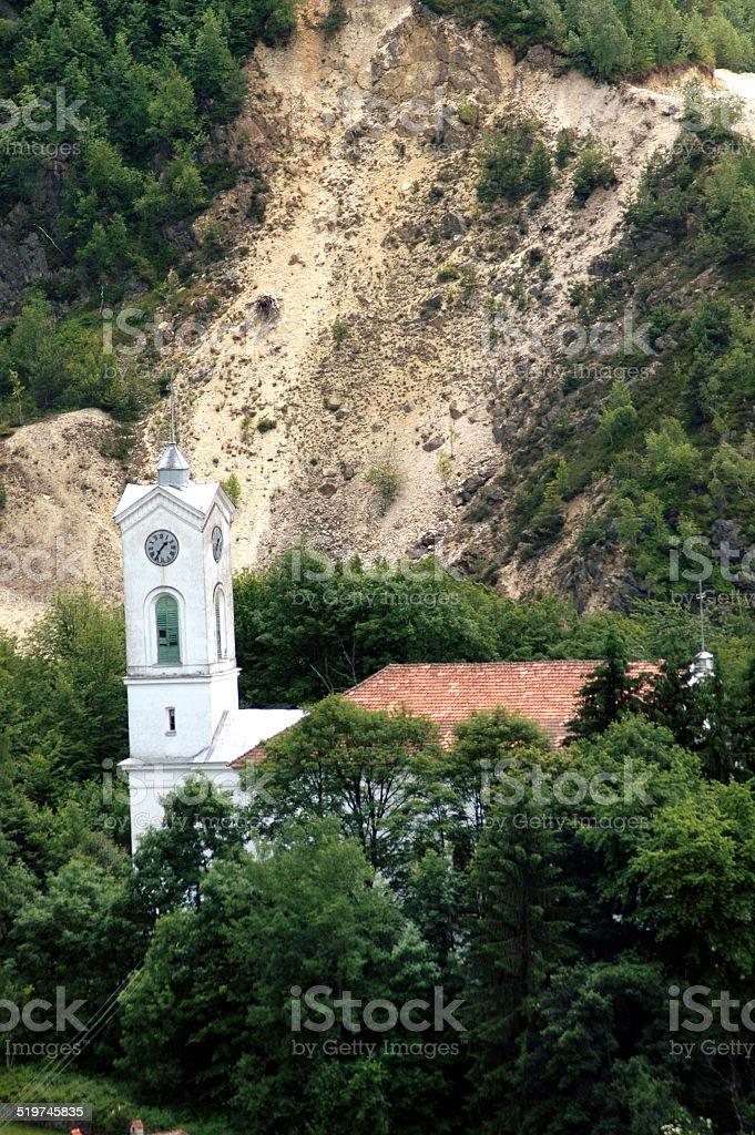 Rosia Montana. Unitarian church in danger near the gold mine stock photo