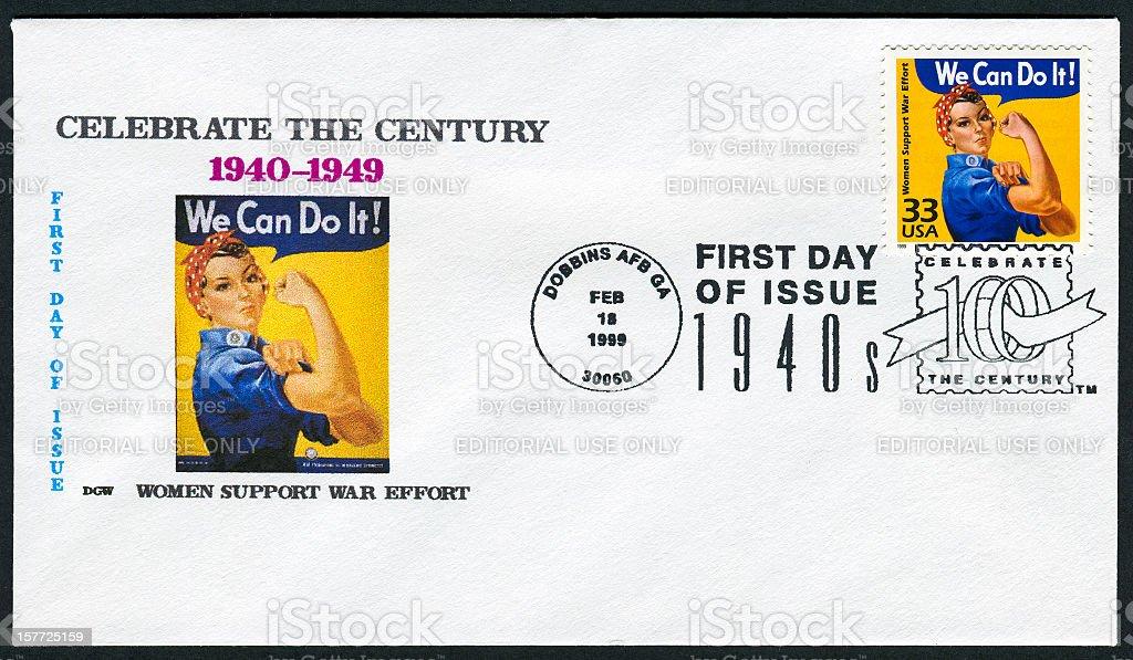 Rosie The Riveter Stamp stock photo