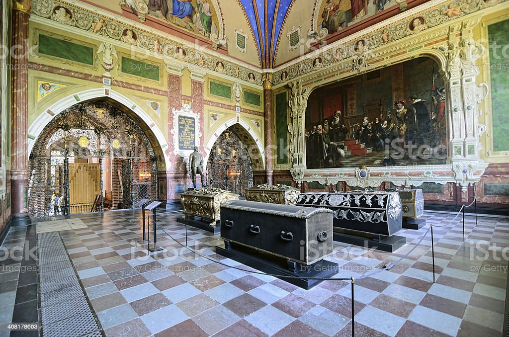 Roskilde Cathedral interior, Denmark stock photo