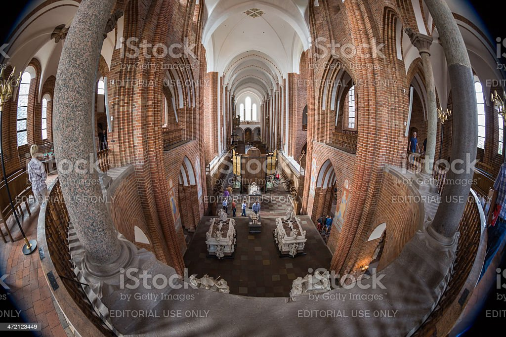 Roskilde cathedral main nave seen from the balcony stock photo