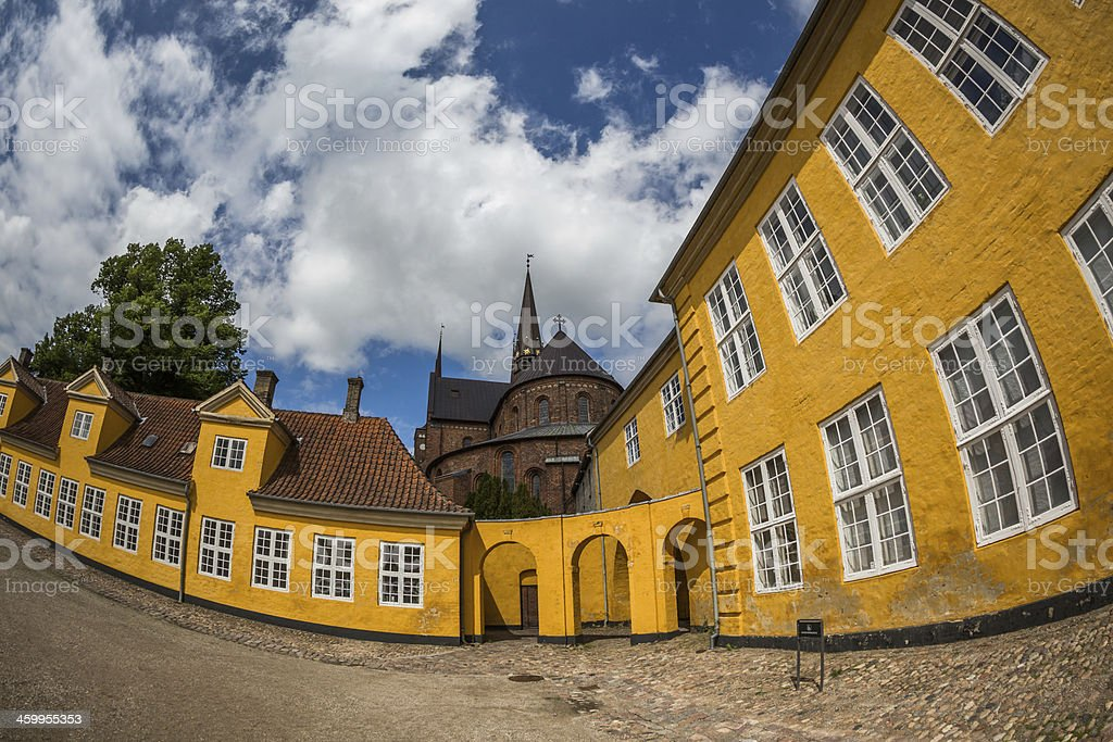 Roskilde cathedral seen from the Royal Mansion stock photo