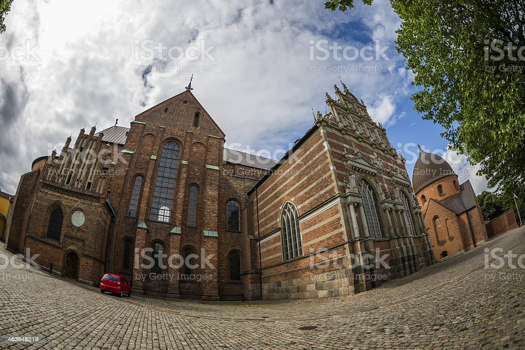 Roskilde cathedral with the prominent chapel of king Christian IV stock photo