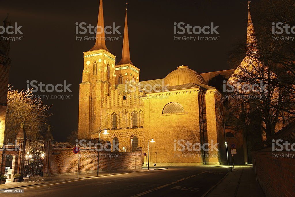 Roskilde Domkirke (Cathedral) at night - Tomb of the Kings! stock photo