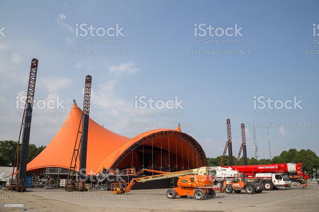 Roskilde Festival 2016 - Orange stage under construction stock photo