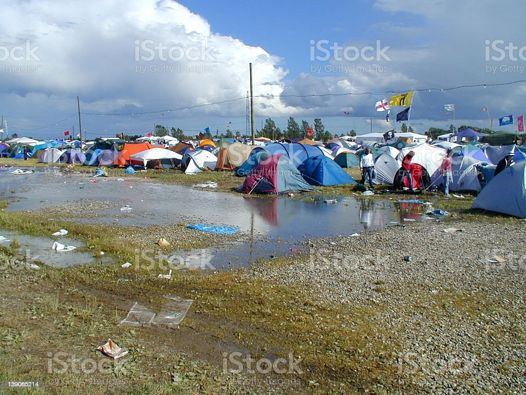 Roskilde Festival - camping with water stock photo