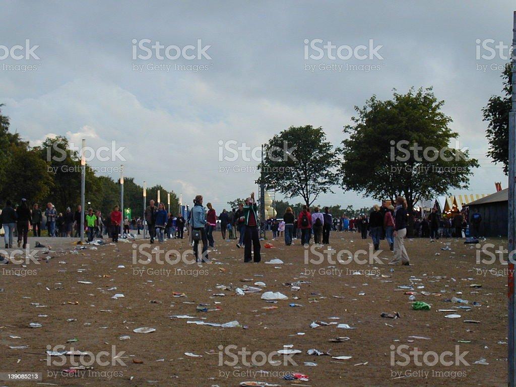 Roskilde Festival - Litter at field stock photo