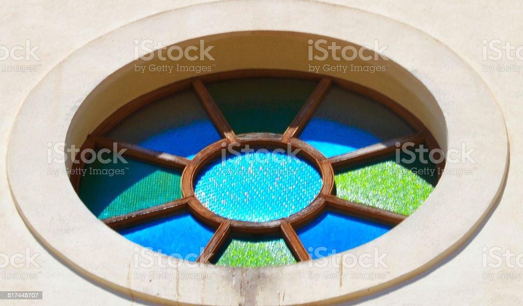 rosone della cattedrale di Ibiza stock photo