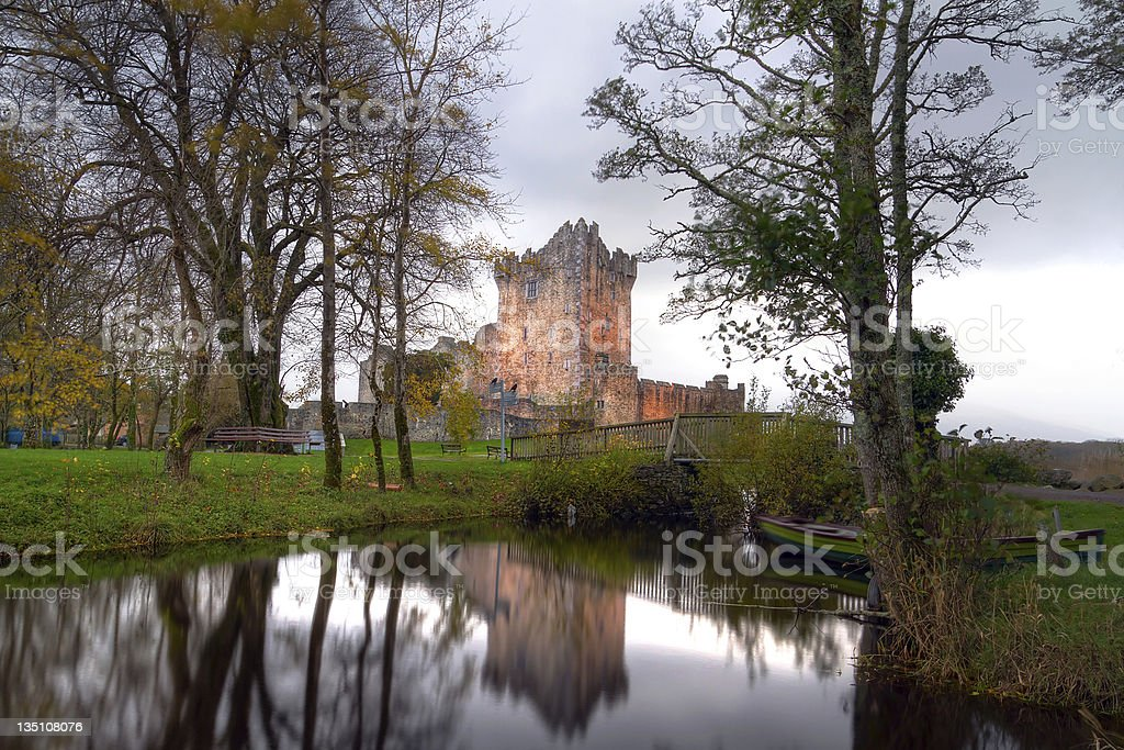 Ross Castle reflected at the river stock photo