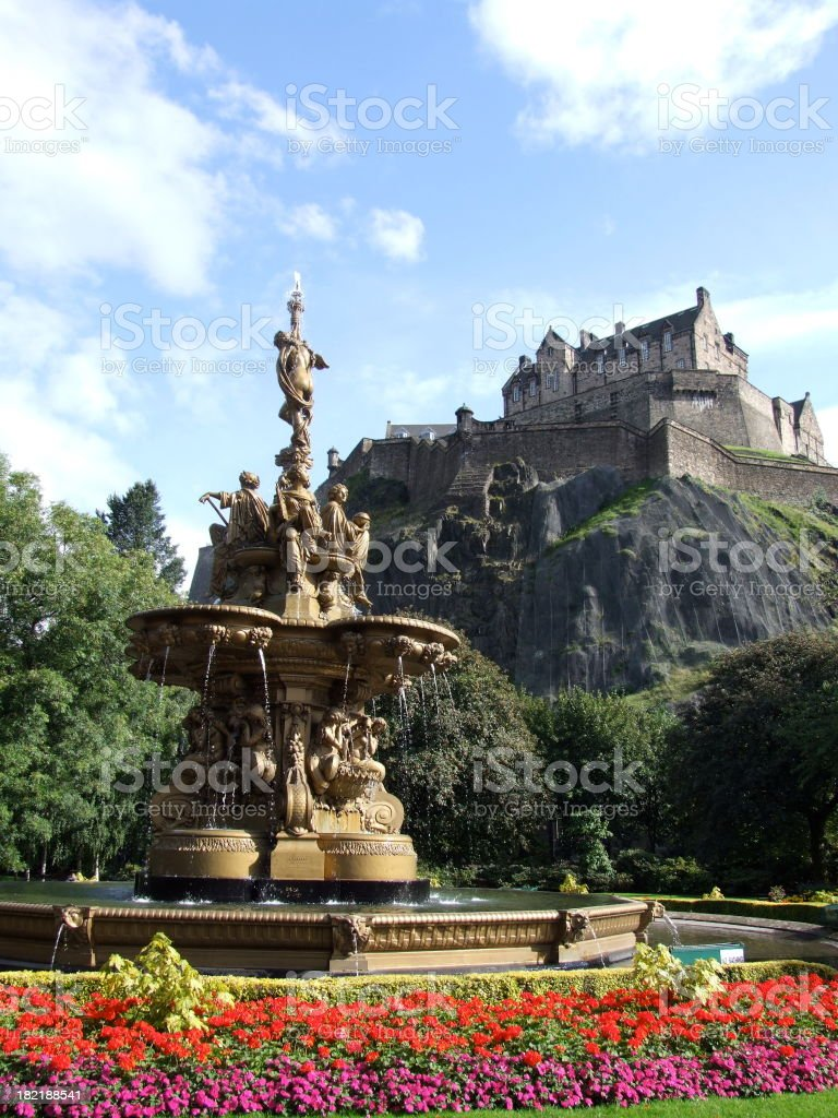 Ross fountain and Edinburgh Castle stock photo
