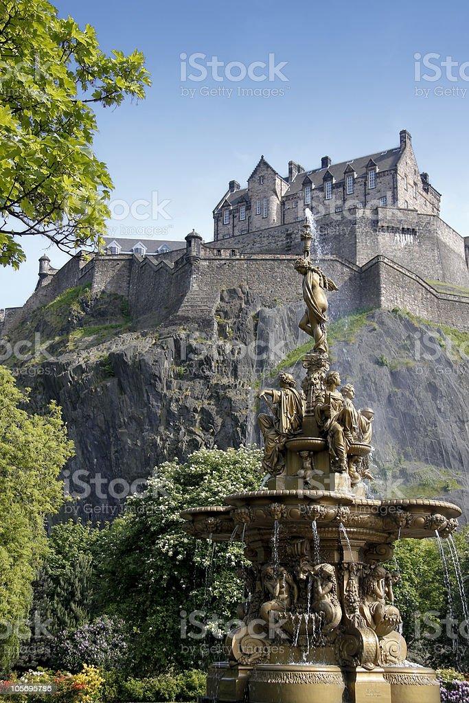 ross fountain edinburgh castle scotland stock photo