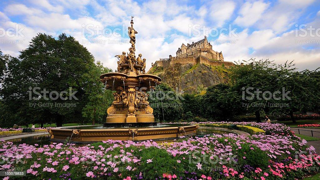 Ross Fountain in front of Edinburgh Castle stock photo
