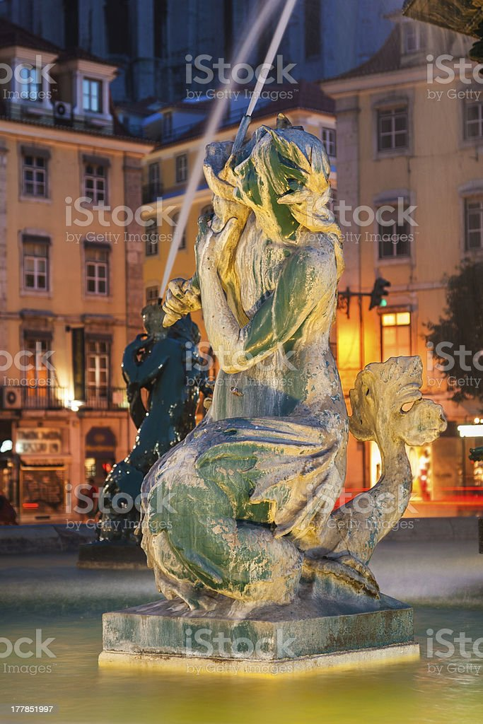 Rossio square at night, Lisboa, Portugal royalty-free stock photo