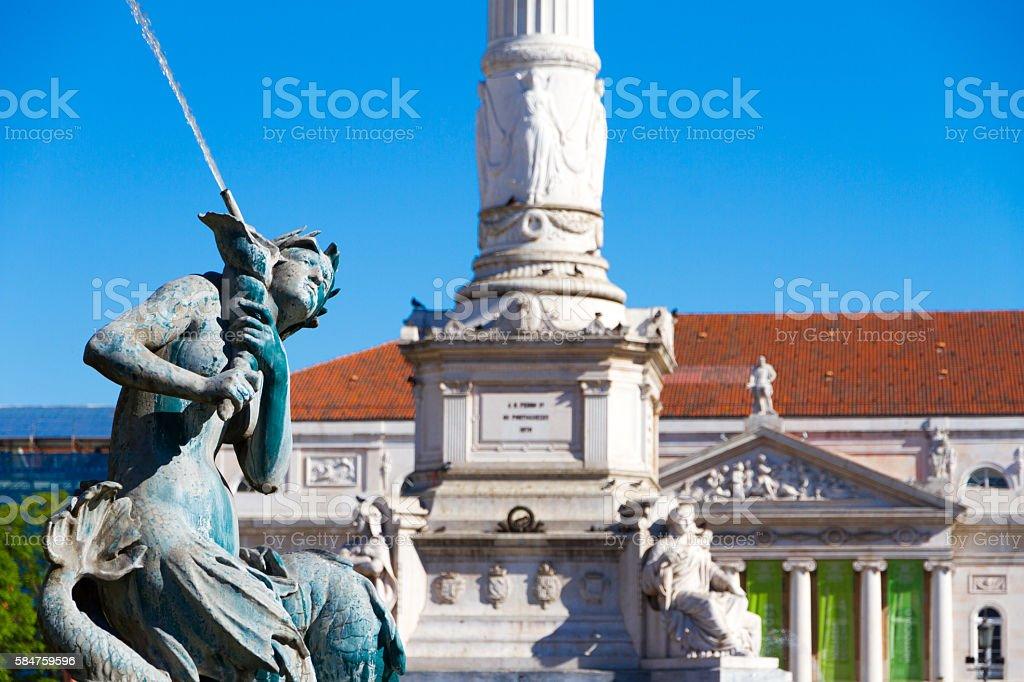 Rossio Square fountain in Lisbon stock photo