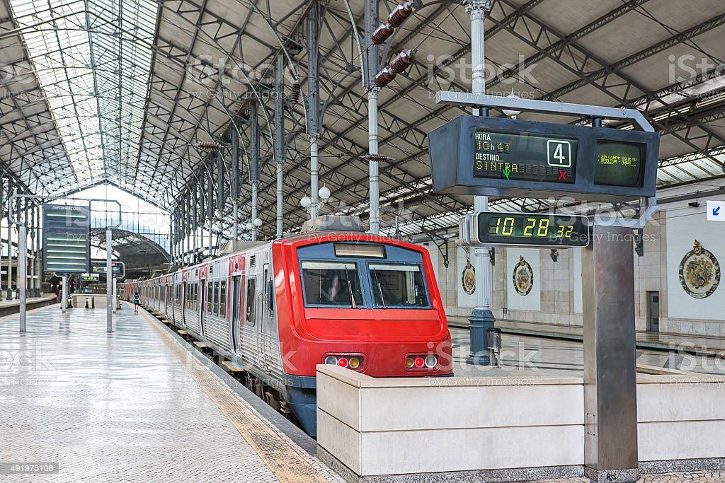 Rossio train station in Lisbon stock photo