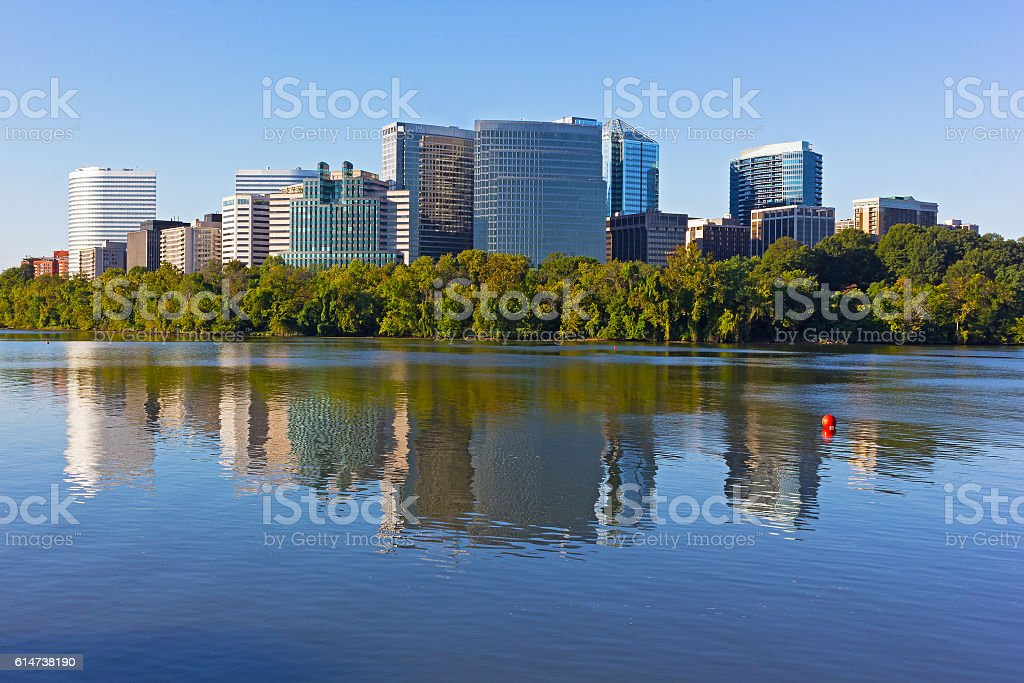 Rosslyn skyscrapers with reflections in Potomac River. stock photo