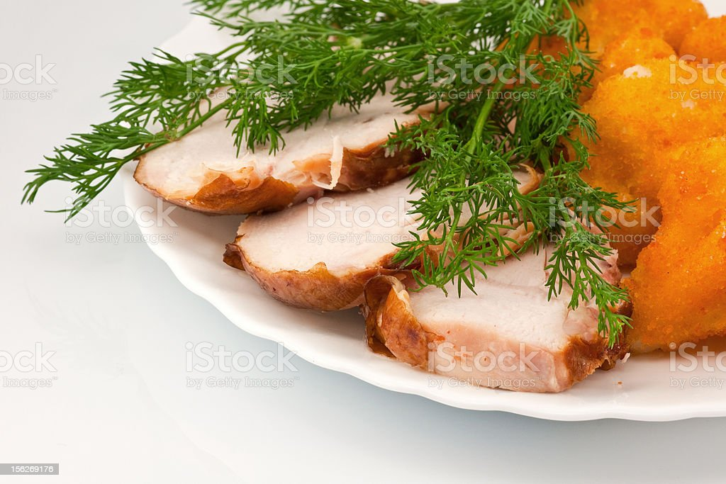 Rosted cauliflower with chiken meat and dill royalty-free stock photo