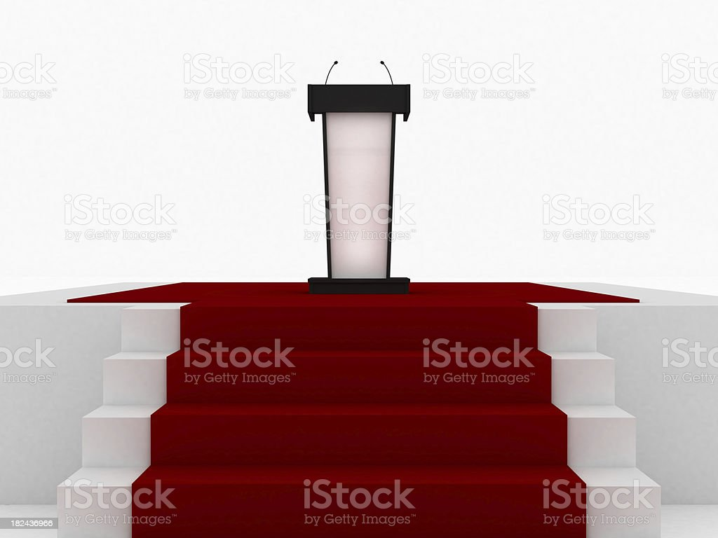 Rostrum on red carpet royalty-free stock photo