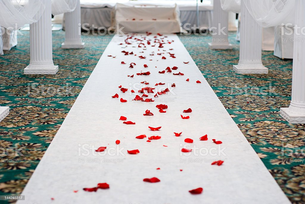 Rosy path to be married, wedding ceremony royalty-free stock photo