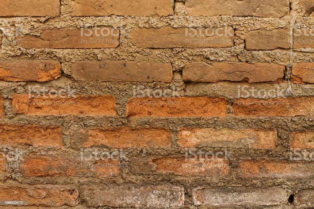 rot away brick wall stock photo