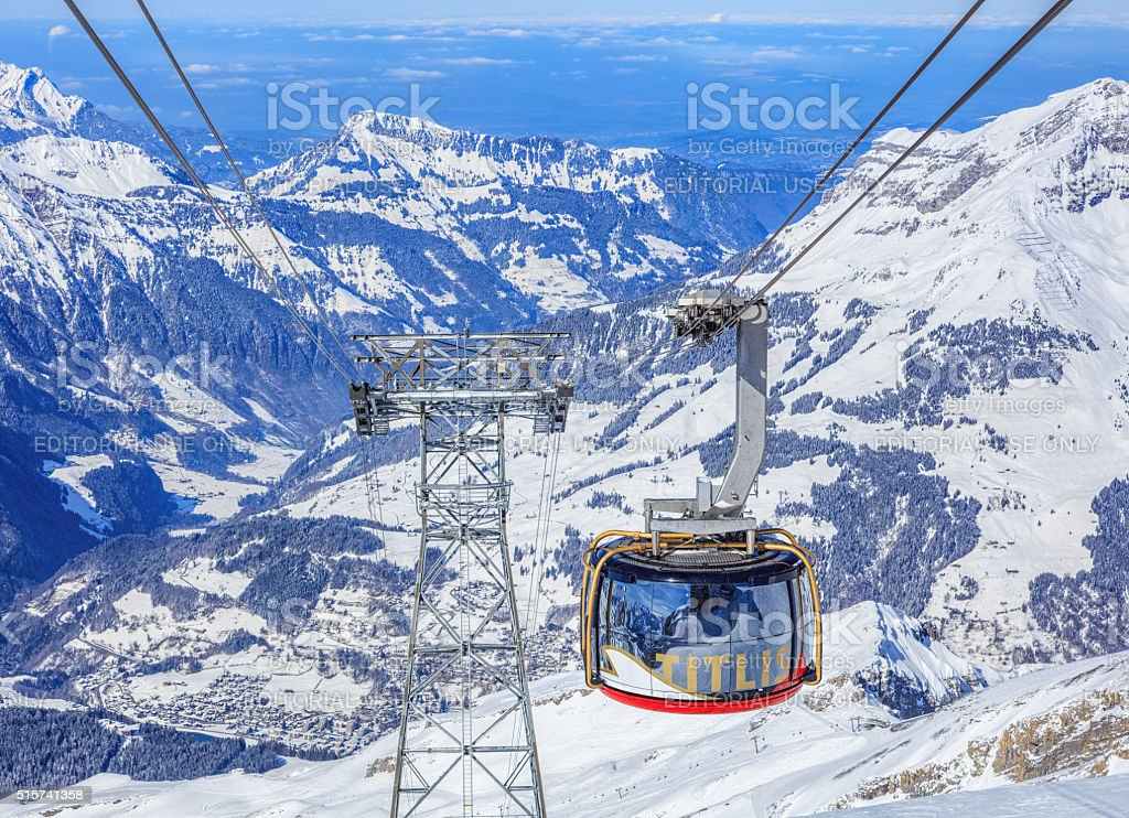 'Rotair' cable car gondola on Mt. Titlis stock photo
