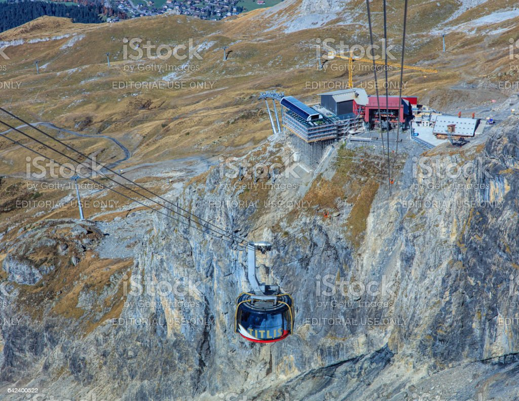 Rotair cable car on Mt. Titlis in Switzerland stock photo