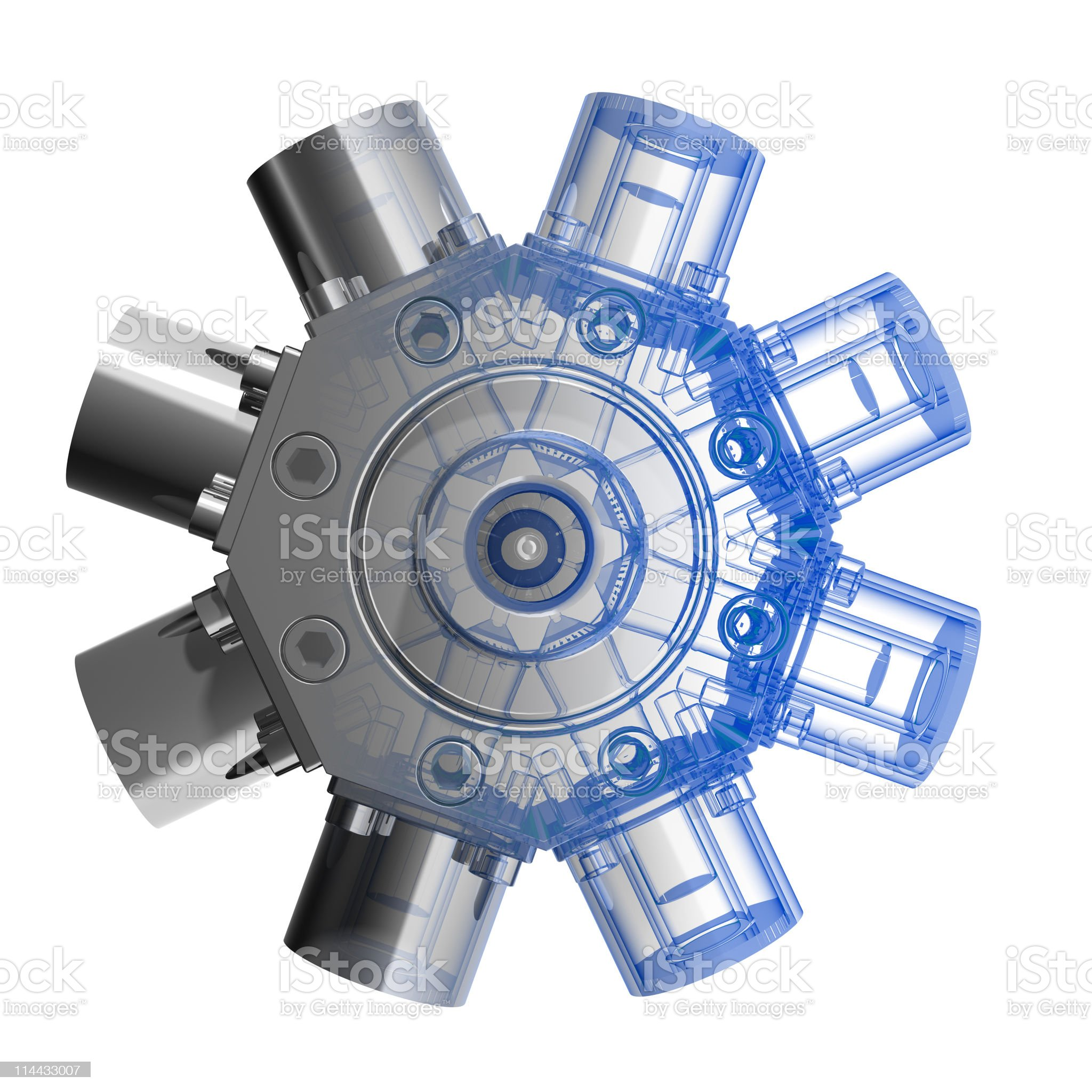 Rotarry engine (3D xray blue transparent) royalty-free stock photo