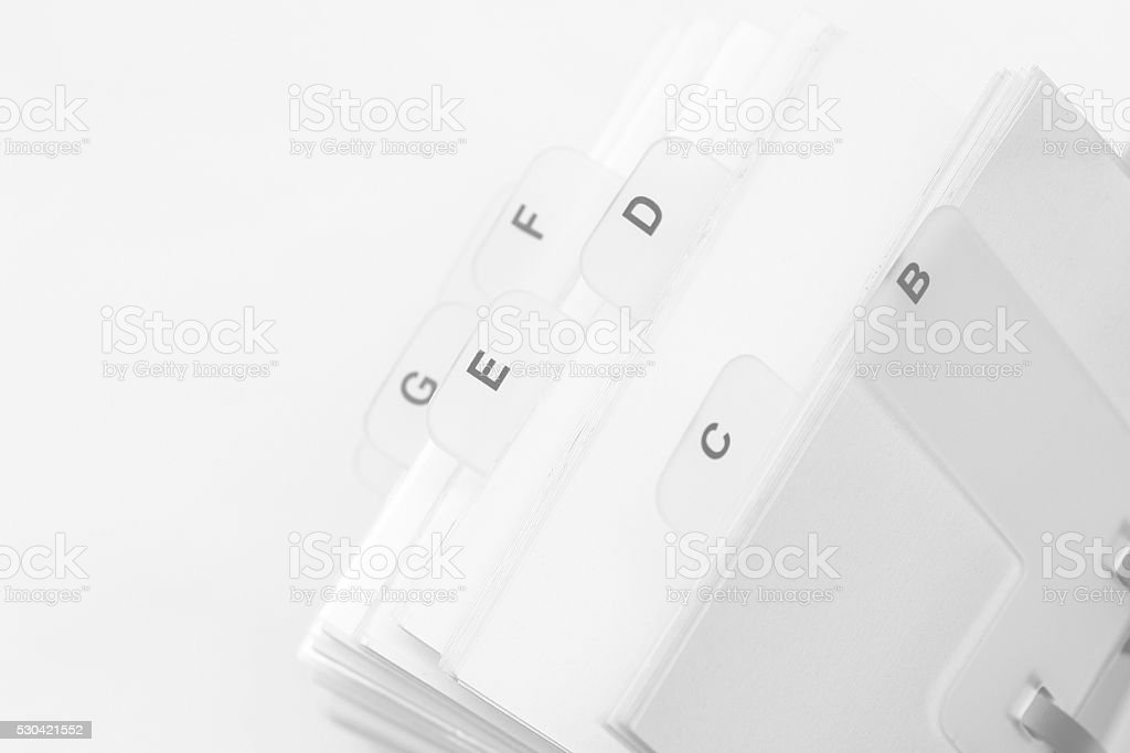 Rotary Card File for telephone or adress book stock photo