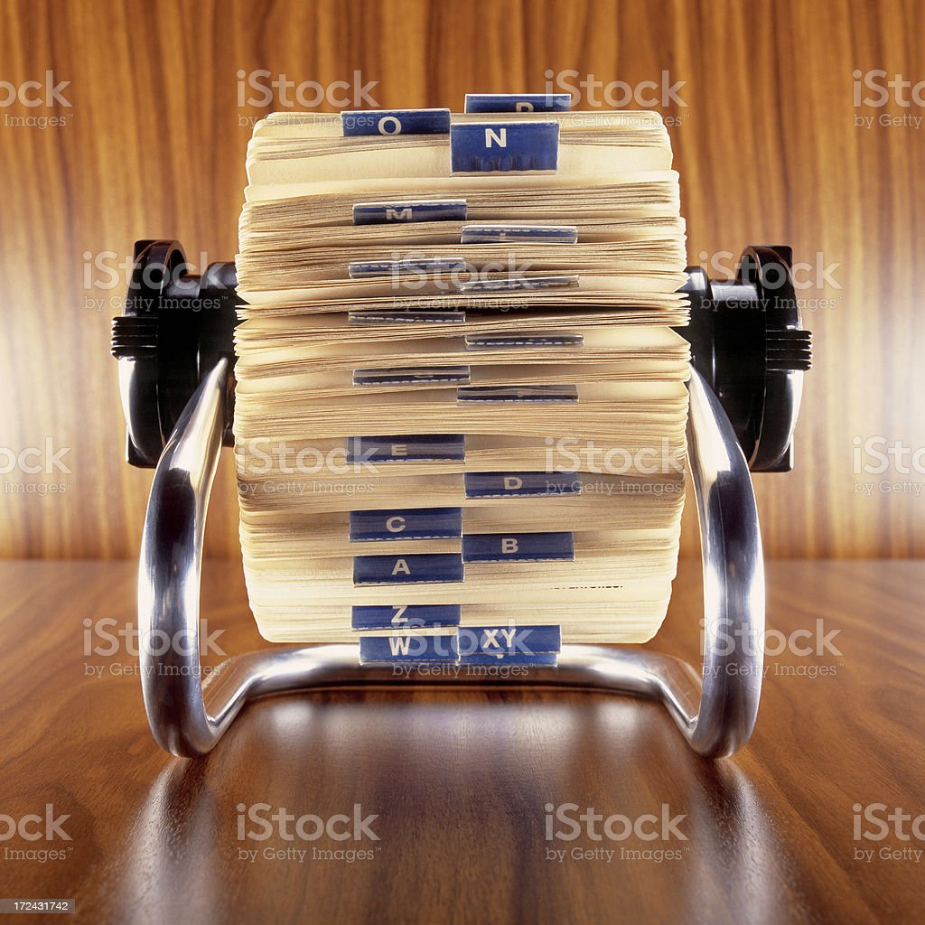Rotary card file frontal stock photo