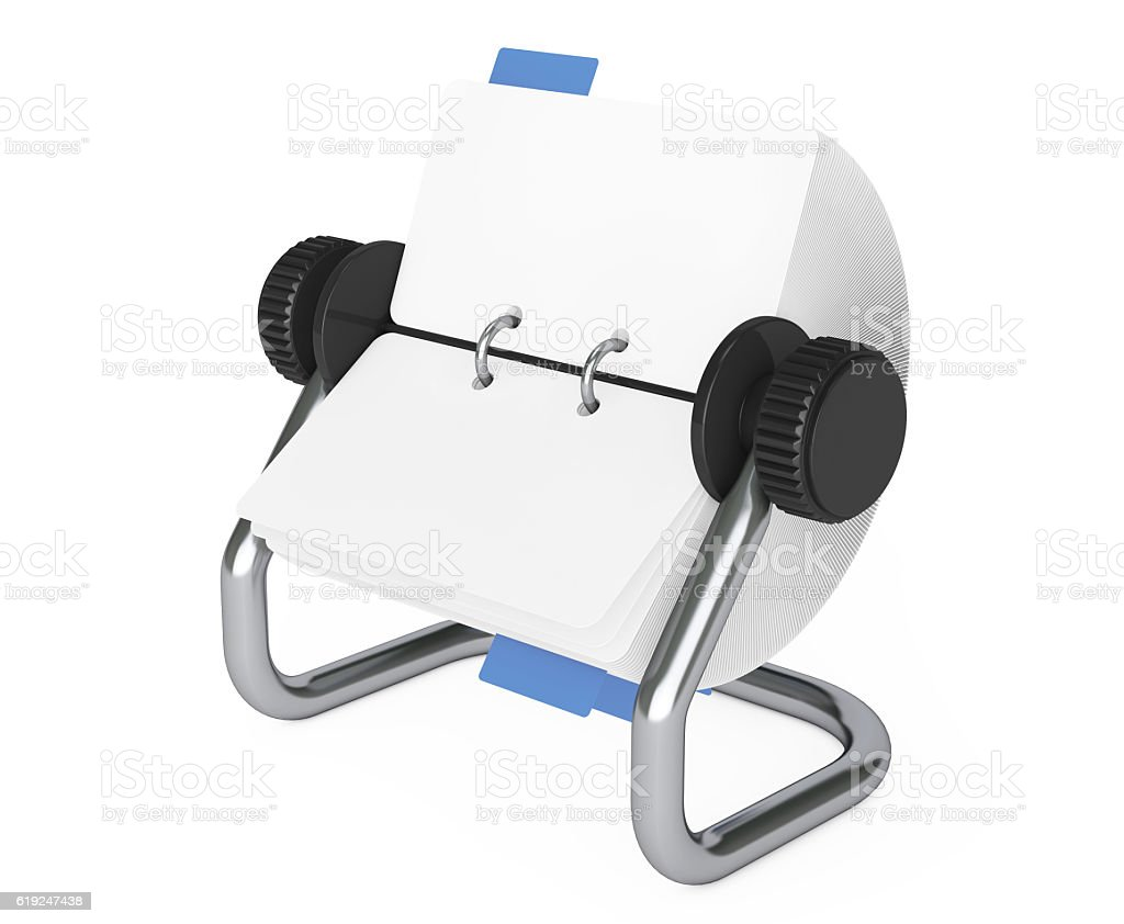 Rotary Desk Card Index. 3d Rendering stock photo