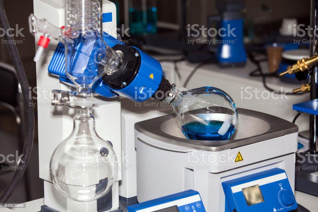 Rotary evaporator working process stock photo