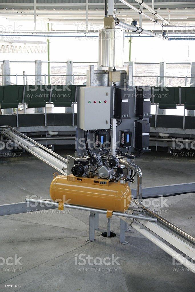 Rotary Milking System Motor stock photo