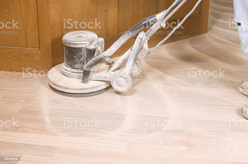 Rotary Sander on a New Hardwood Floor stock photo