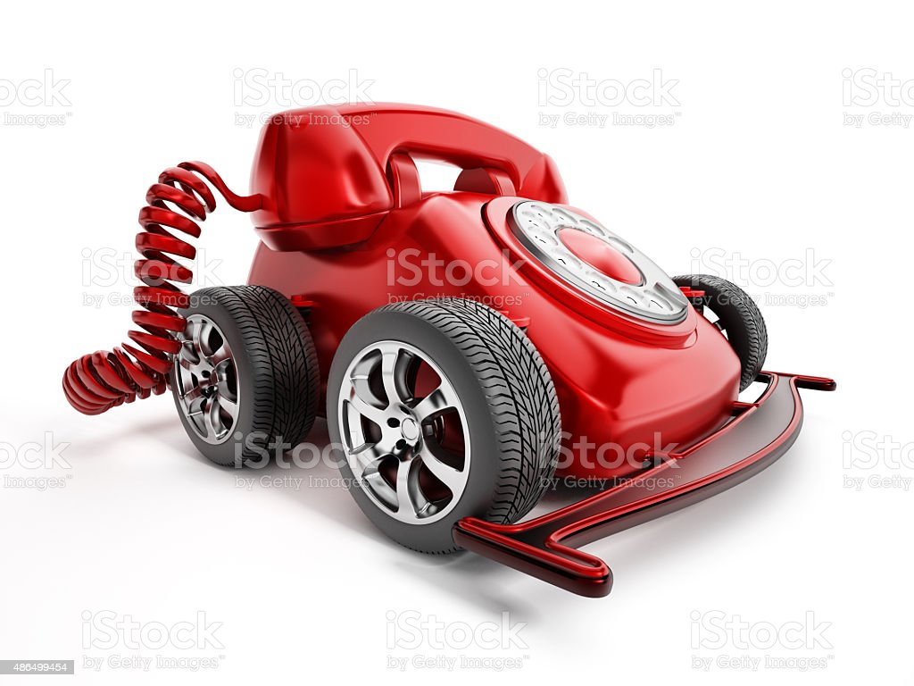 Rotary telephone with wheels stock photo