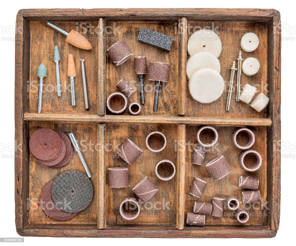 rotary tools in rustic boc stock photo