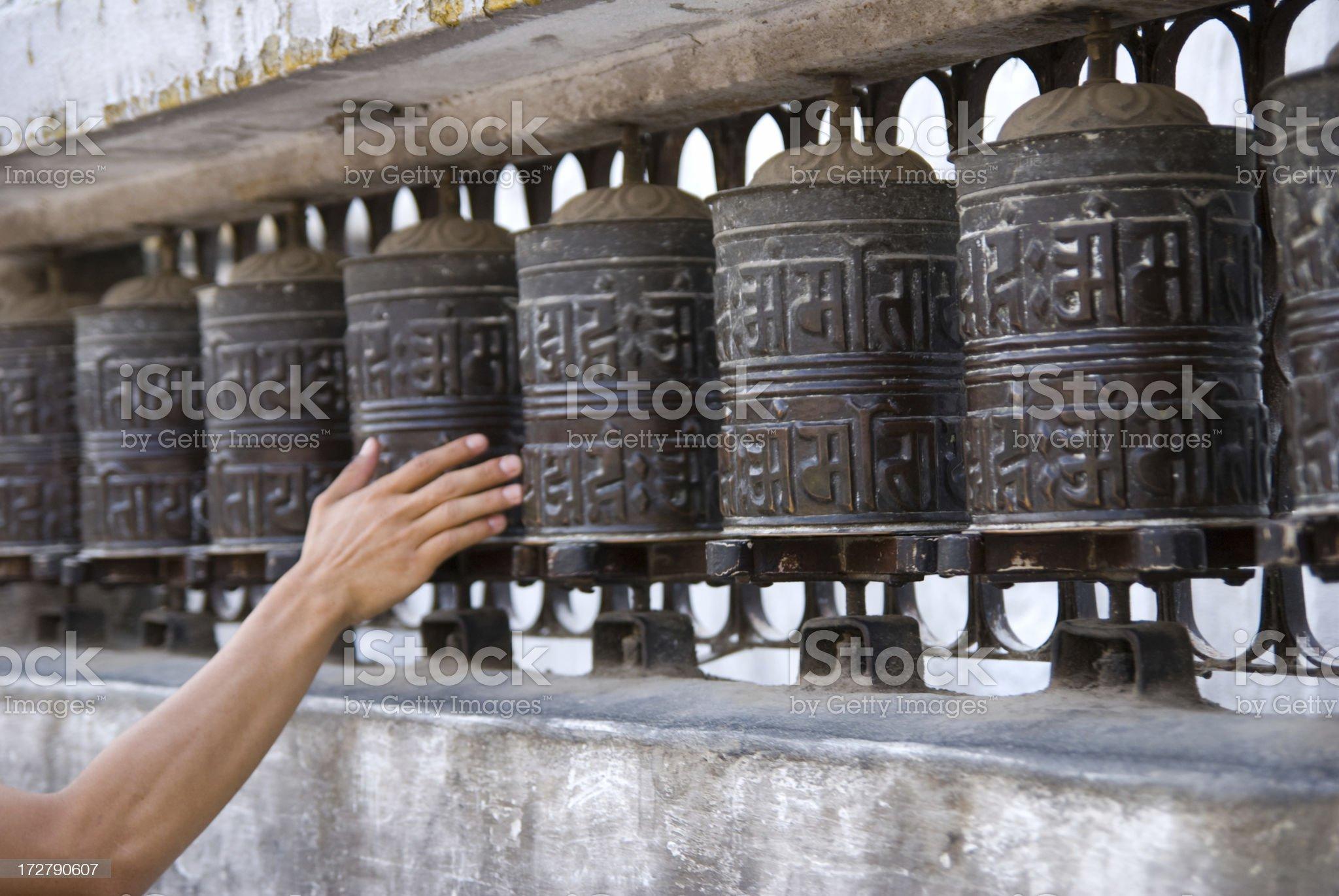 Rotating Buddhist Prayer Wheel royalty-free stock photo