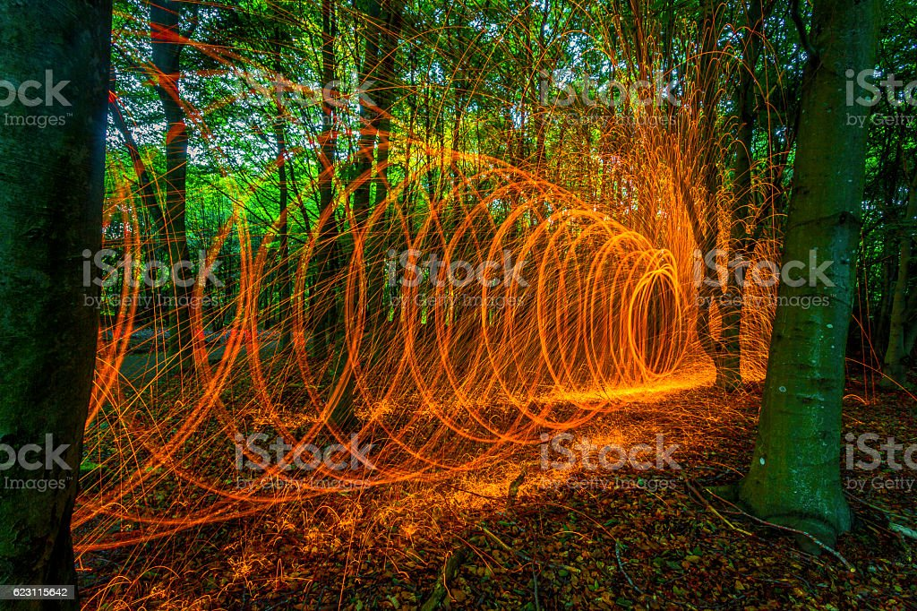 Rotating burning steel wool in forest stock photo