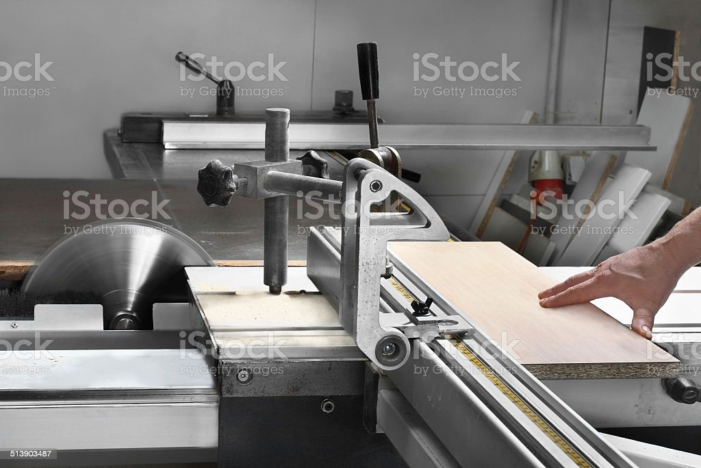 Rotating saw blade stock photo