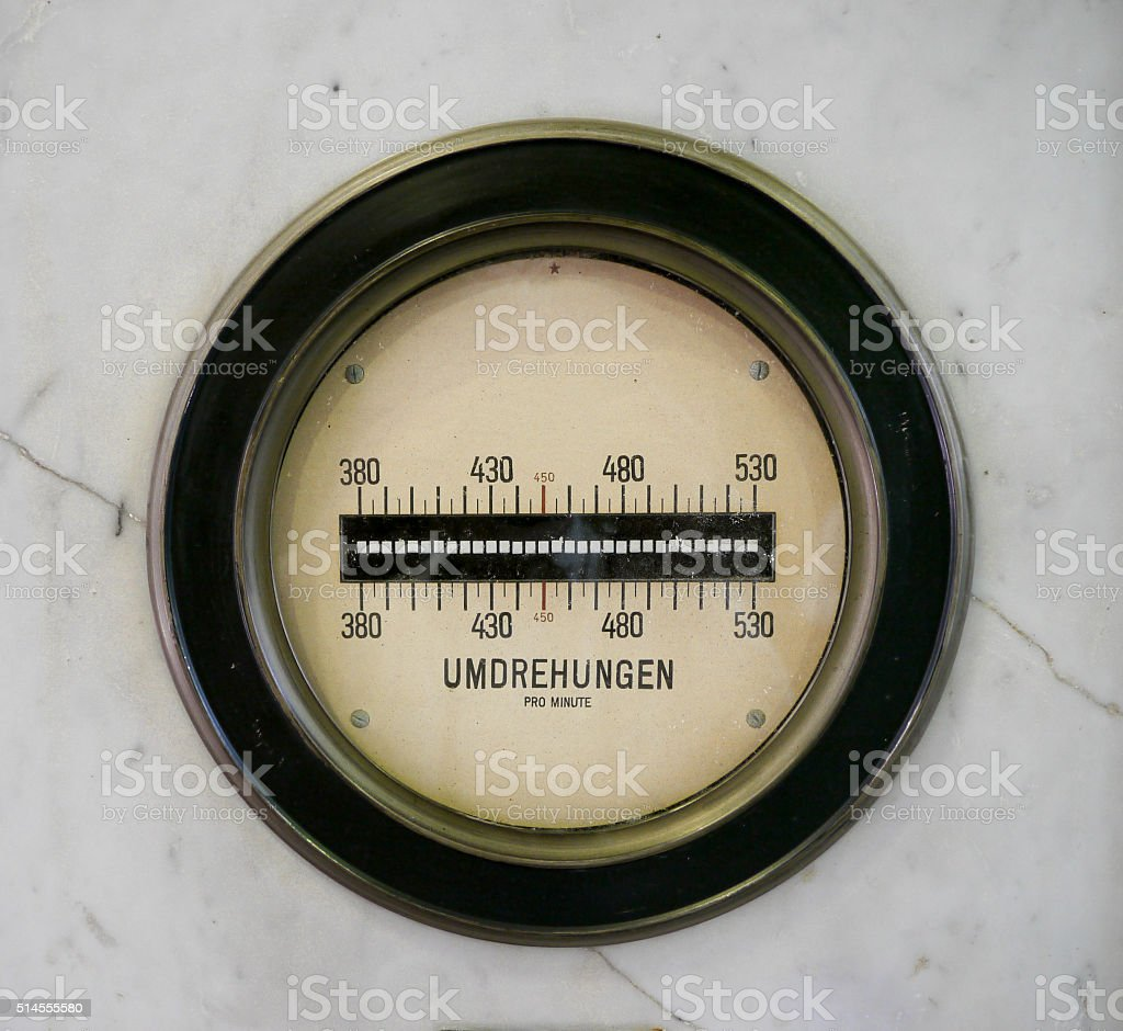 Rotation meter on marble plate stock photo