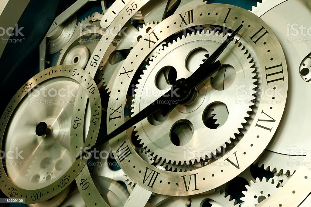Rotation of the clock stock photo